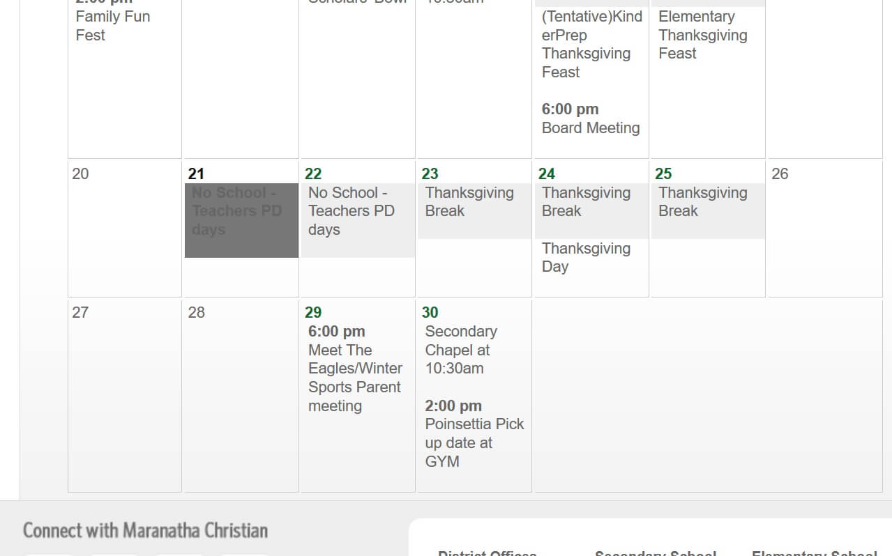 Maranatha school schedule for November